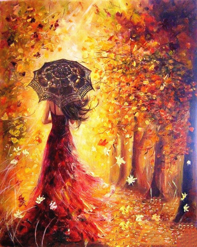 Beautiful Women Autumn Landscape DIY Painting By Numbers Kits Coloring Paint By Numbers Modern Wall Art Picture Gift