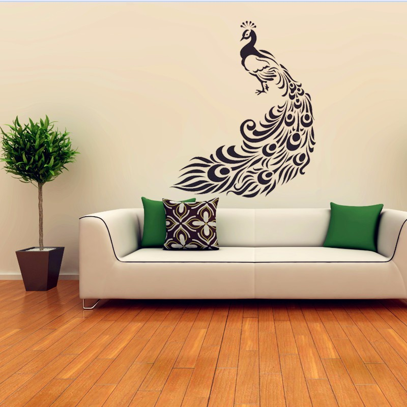 Beautiful peacock wall stickers home decor decorative - Beautiful wall stickers for living room ...