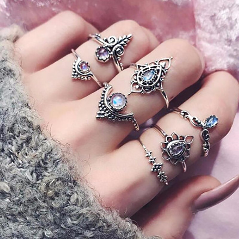 7 pcs/set Antique Silver Color Rings Crystal Rhinestone Hollow Flower Midi Finger Knuckle Ring Sets For Women Bohemian Jewelry