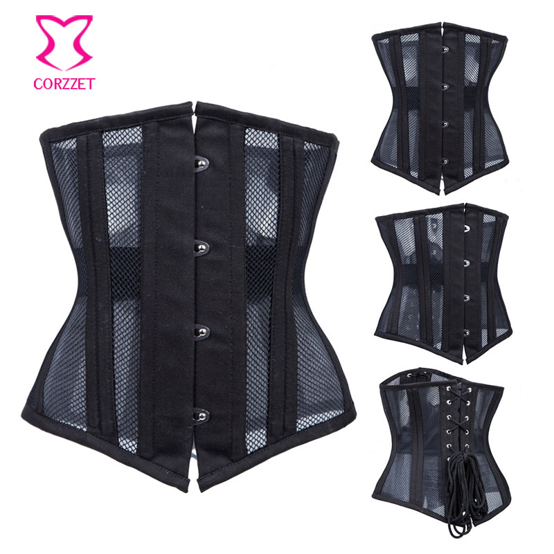 8fea2be204 Black Mesh 22 Steel Boned Underbust Corset Plus Size Waist Slimming Corsets  and Bustiers Sexy Gothic Lingerie Korsett For Women-in Bustiers   Corsets  from ...