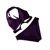 セクシーなビキニセットレディース包帯水着紫プールスイミングスーツハイカットスリング入浴スーツなdvaビキニビーチウェ