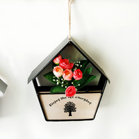 Europe Style Home Decor Iron Wooden Round House Shaped Room Plant Hooks Wall Water Planting Hanger