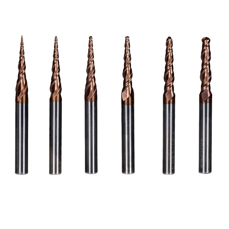 6 шт./компл. диаметр 6 мм Cel 30,5 мм карбида конические сферическим концом флейта для резьбы CNC Cut Инструменты