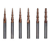 6Pcs/Set Dia 6mm Cel 30.5mm Carbide Tapered Ball Nose End Mill Flute For Carving CNC Cut Tools