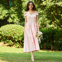 Dressv Pink Bridesmaid Dress Off The Shoulder A Line Taffeta Tea Length Elegant Custom Wedding Party