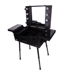 Navi Fashion Professional Makeup Case Trolley Mount Dressing Table Large  Belt Bulb Cosmetic Box With Mirror