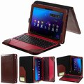 Luxury Crazy Horse Folio Stand PU Leather Case With Keyboard Cover For Asus Transformer Book 10.1 T100H /T100HA8500/H100H/R104H