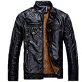 Leather Jacket Men Winter PU Jackets and Coat Thickening Wool Windbreak Waterproof  Warm Skin Lamb Fur Trench Coat Plus Size 3XL