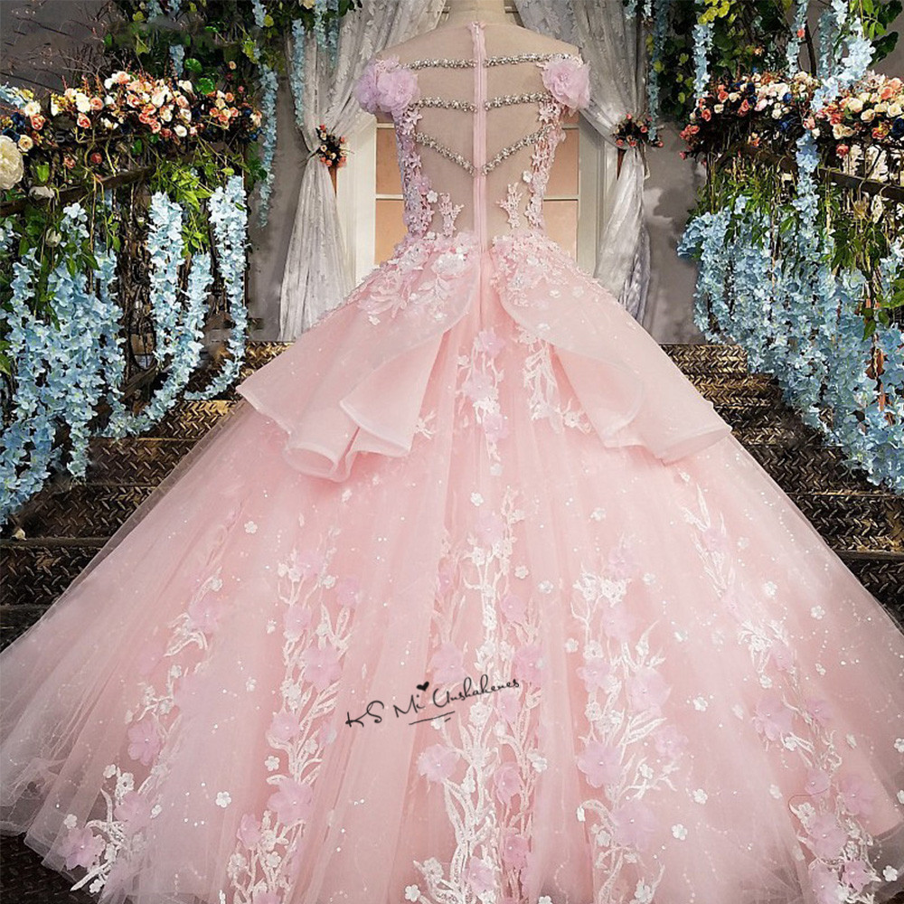 Pink Flower Luxury Wedding Dress 2018 Ball Gown Bride Dresses Lace ...