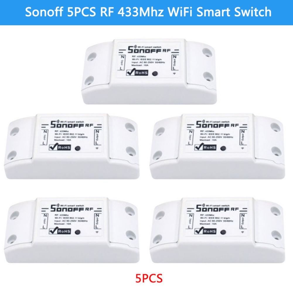 5PCS ITEAD Sonoff RF 433Mhz WiFi Wireless Smart Switch Sensor For Smart Home WiFi Light Switch itead sonoff smart wifi switch diy smart wireless remote switch domotica wifi light switch smart home controller work with alexa