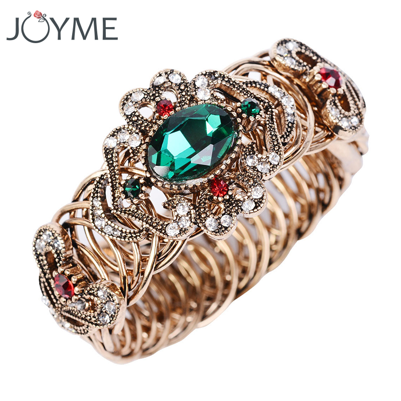 Turkish Wide Bracelets & Bangles Stainless Steel Open Cuff Bracelet Green Crystal Tibetain Braslet Wrist Band Boho Jewelry