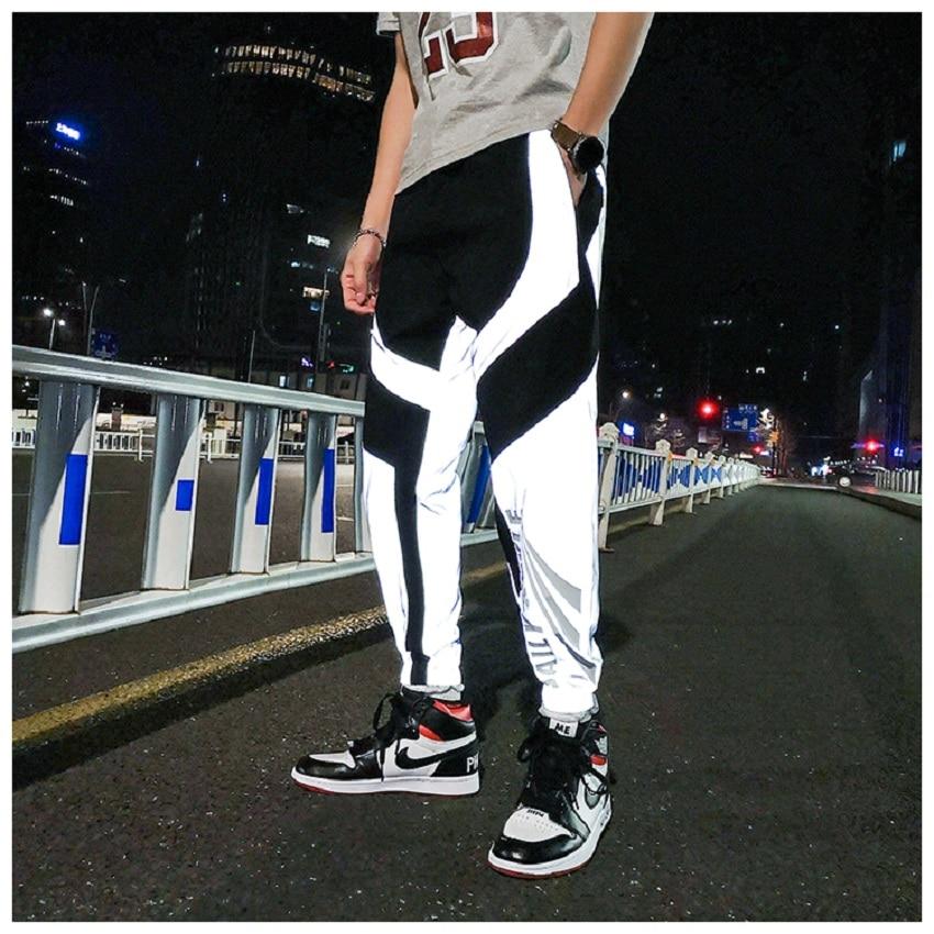 New Reflective Pants Men Hip Hop Dance Show Party Sweatpant Mens Casual Night Sport Jogger Baggy Trousers