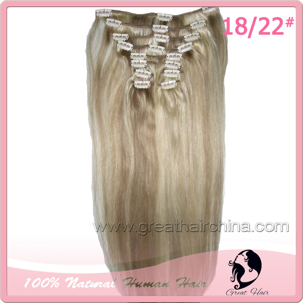 Free Shipping 10Pcs/Set 18 inch 100gram Natural Straight 1#, 18/22# Brazilian Remy Virgin cabelo humano Clip in Hair Extensions