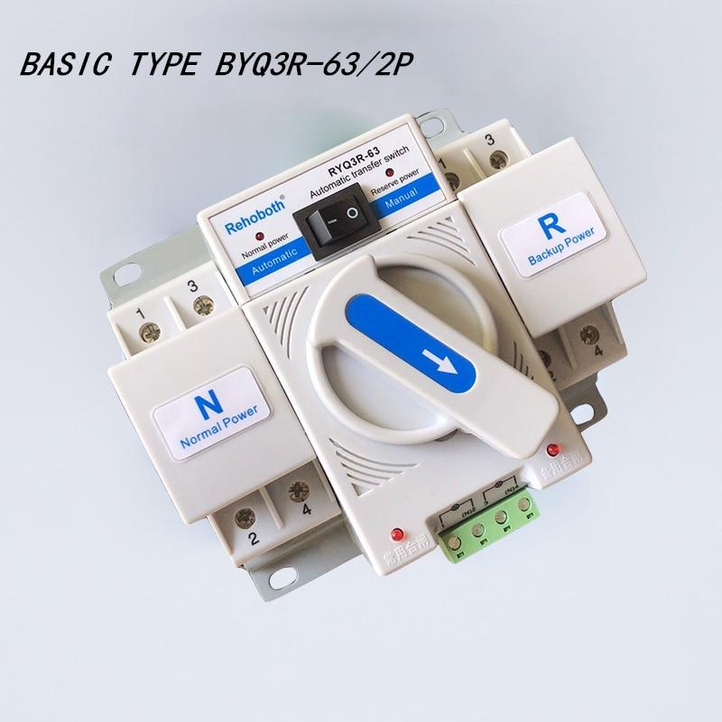 2 p 63a AC200-240V mccb tipo interruptor de transferência automático de potência dupla ats