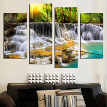 4 pcs Waterfall Canvas Painting Christmas decorations Modular Picture for Living Room Prints Cuadros Paintings F1867