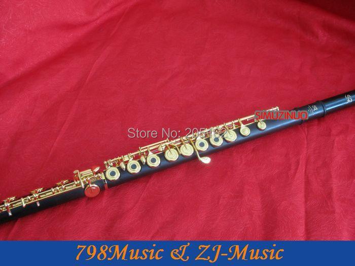 Ոսկե Plated L աֆրիկյան Blackwood Գրենադիլա Flute-B ոտքով բաց փոս-պառակտում-E-Inline-G-ամերիկյան գլխաշոր-NO.6
