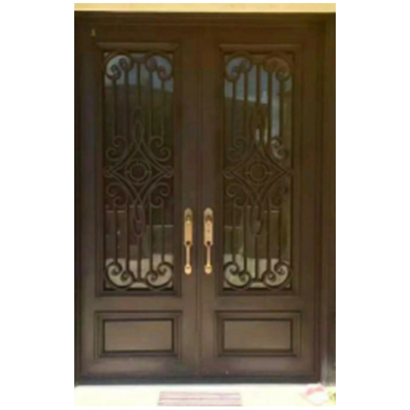 Metal Iron Arched Double Entry Doors Hc