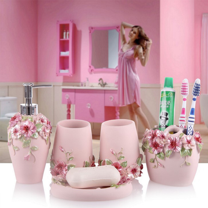Luxurious Resin Bathroom Accessories Sets Pink Flowers Soap Dish Toothbrush Holder Eco-Friendly Bath Product Wedding Gifts image