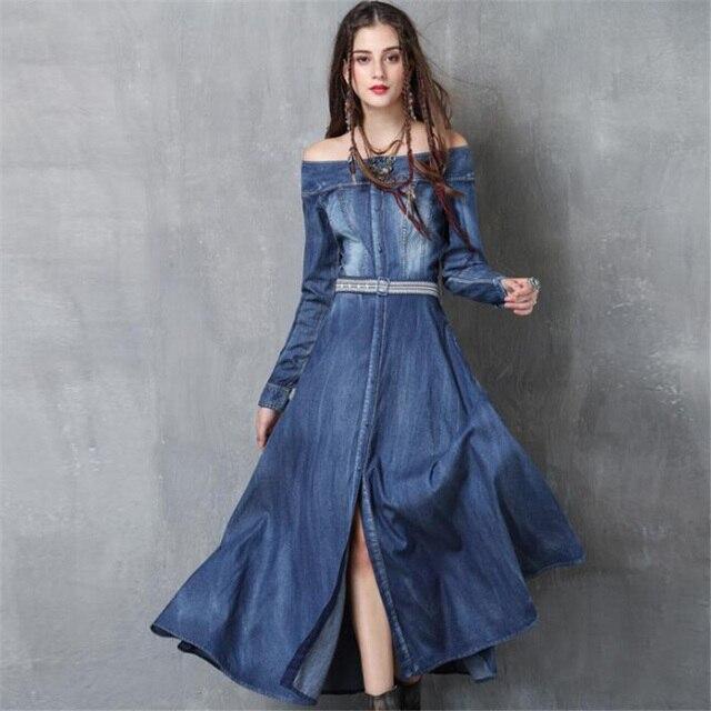 94a912d49ab 2019 frauen Kleid Neue Mode Lose Off Schulter Jeans Lange Kleider Casual  Langarm Damen Vintage Denim