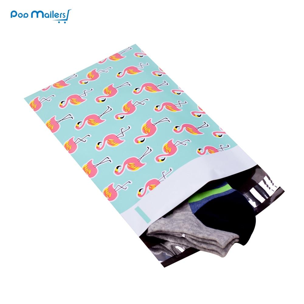 Купить с кэшбэком 100pcs 15x23cm 6x9 inch Flamingo pattern Poly Mailers Self Seal Plastic mailing Envelope Bags