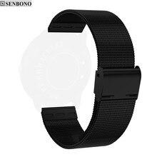 SENBONO 20 mm uniwersalny stalowy pasek bransoletka watchband dla Xiaomi Amazfit Bip młodzieży Ticwatch2 CF007H opaski