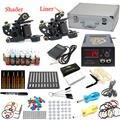 EUA Despacho Pro Tattoo Kit 2 Metralhadoras Liner Shader 28 Cores de Tintas 50 Agulhas LCD de Energia Apertos Dicas Set fornecer