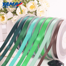 YAMA 50 57 63 75 89 100 mm 100yards/lot Double Face Satin Ribbon Green for Party Wedding Decoration Handmade Rose Flower Ribbons