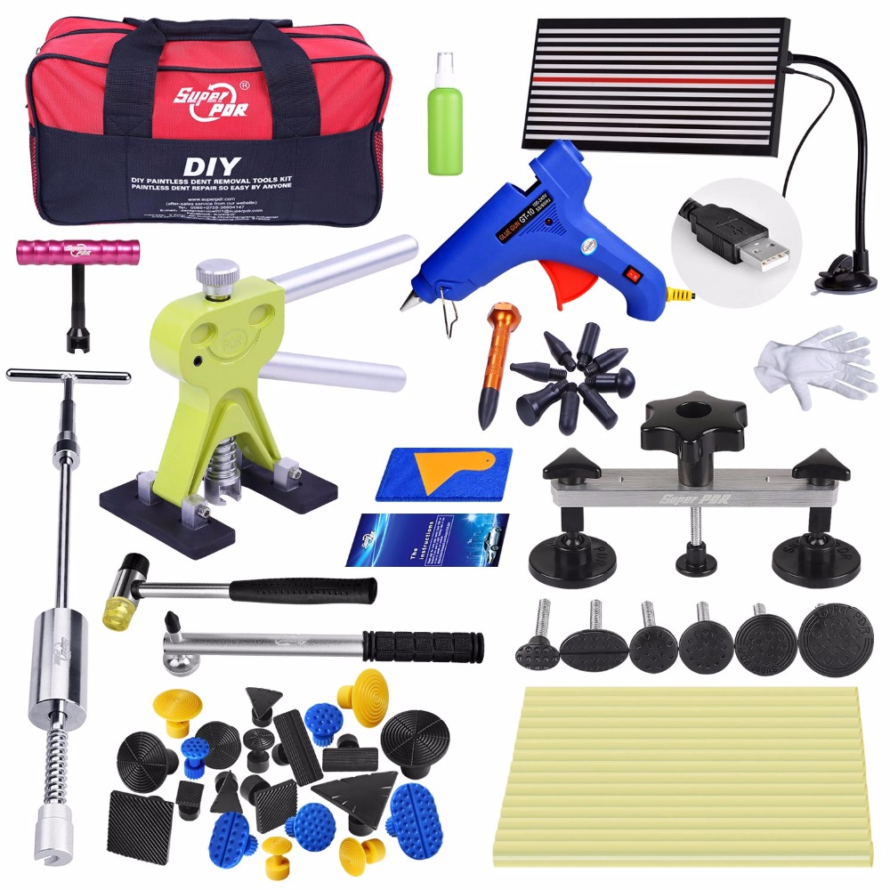 цена на Super PDR Kit Car Dent Removal Hand Tool Set Reflector Board glue gun dent puller Slide Hammer tools paintless dent repair