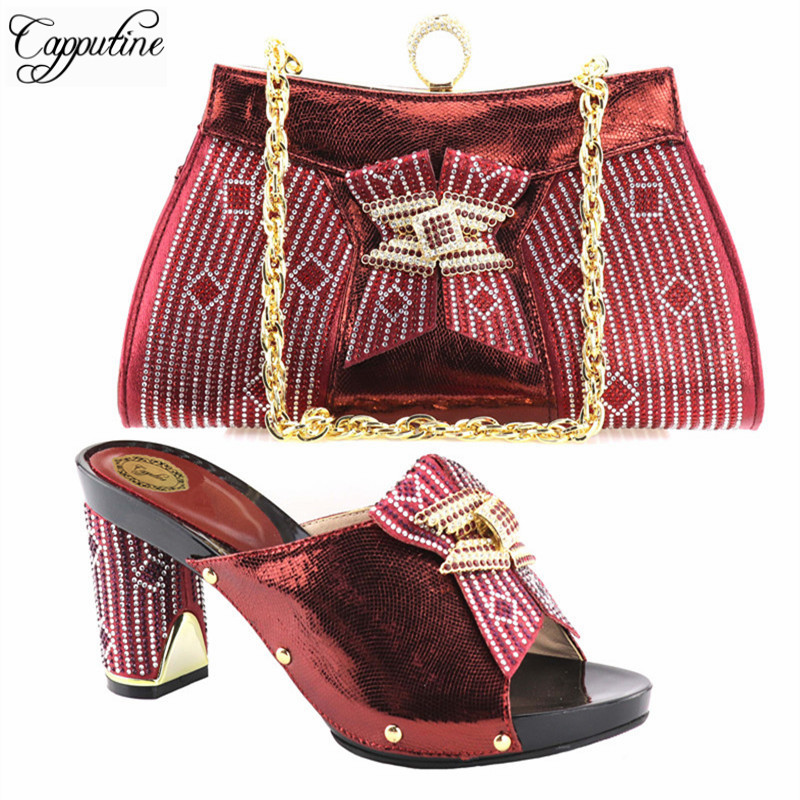 Capputine Wine Color Fashion Italian Shoes With Matching Bags For Party High Quality Shoes And Bags Set For Wedding Dress fashion italian shoes with matching bags for party high quality shoes and bags set for wedding szie 37 or 43 mhy1 26