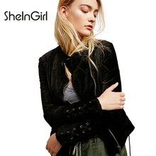SheInGirl Women Bomber Jacket Velvet Casual Drawstring Sleeve Loose Female Basic Jacket Punk Zipper Streetwear Outwear