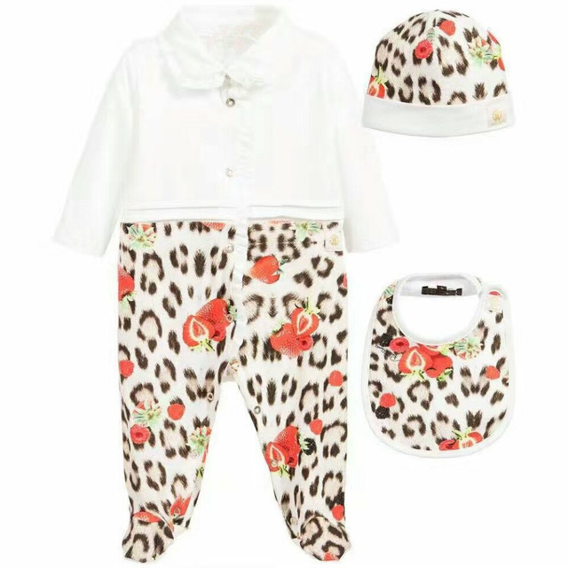 Nueva Marca de Leopardo de los Bebés Mameluco de La Manga Completa Ropa de bebé set [Mono Del Bebé + Hat + bib]