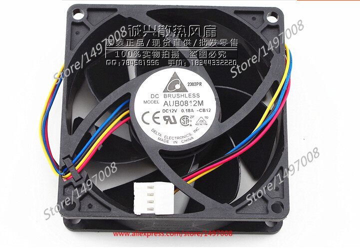 купить  Free Shipping For DELTA  AUB0812M -CB12  DC 12V 0.18A 4-wire 4-pin connector 80mm 80x80X25mm Server Square fan  онлайн