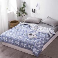 Famvotar Summer Comforter Thin Quilt Throw Blanket Christmas Deer Snowflake Pattern Ultra Soft Cotton Yarn Summer Spring Quilts