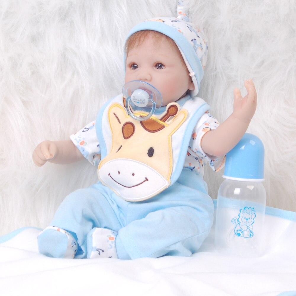 купить Fashion 17 Inch Doll Reborn Soft Silicone Vinyl Realistic Reborn Dolls Babies 42 cm Lifelike bebe Boy Toys For Christmas Gifts по цене 4351.16 рублей