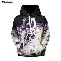 Devin Du 2017 New Fashion Cap Hoodies For Men Women 3d Sweatshirt Print Astronaut Moon Landing