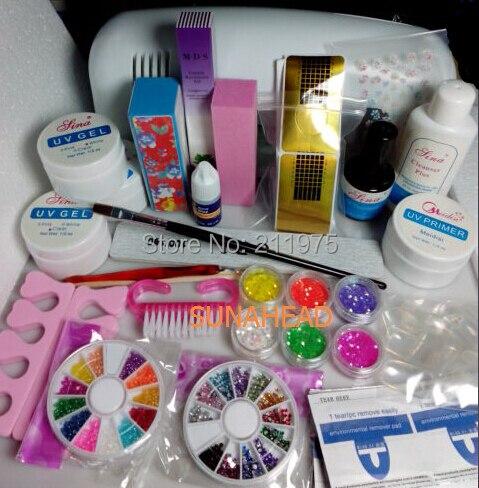 Professional Full Set UV Builder Gel Kit Nail Art Set 9W Curing UV Lamp Dryer Curining primer Cleanser Plus Glitter Powders