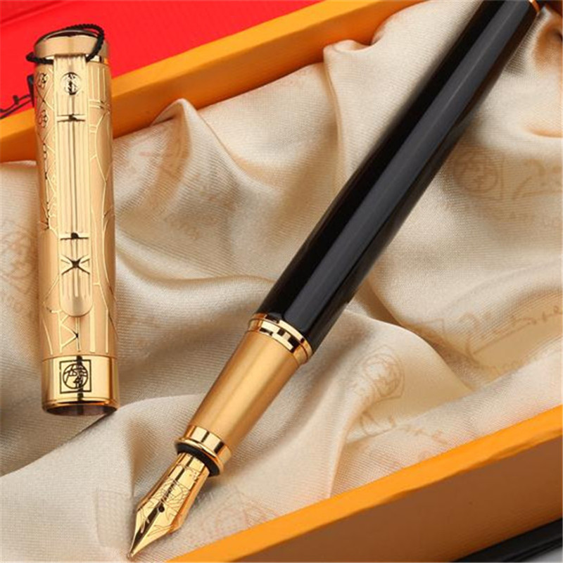 1pc/lot Picasso 902 Fountain Pen Pimio Pens Full Gold Engraving Cap Gold Clip Black Pen School Supplies Stationery 13.6*1.3cm cmam spine11 human vertebral column w half femur highly detailed model medical science educational teaching anatomical models