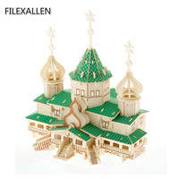 Russian Christmas Chalet DIY Wooden 3D Jigsaw Toys Home Decorative Building Toys for Grownups Children Gifts