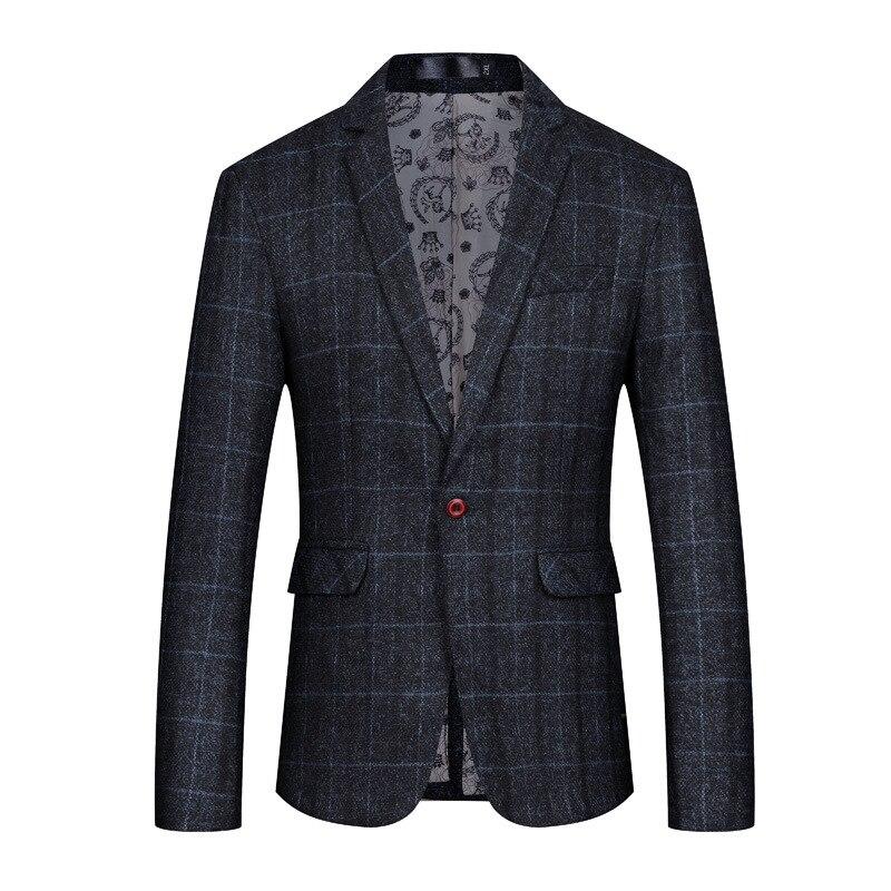 Veste homme noir plaid slim blazer homme mode simple simple simple bouton affaires formel veste hommes robe de soirée