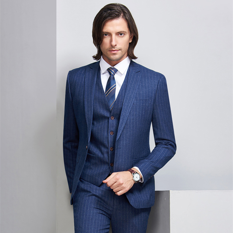 superior quality big clearance sale shop for US $86.68 46% OFF|Mens Striped Suit 2019 Slim Fit Men Suits For Wedding  Brand Navy Blue Mens Formal Wear 3 Piece Business Suit Q340-in Suits from  ...