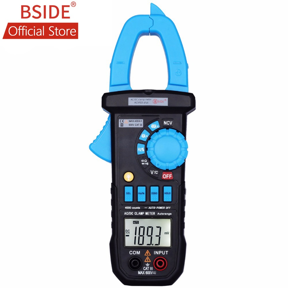 BSIDE Digital Multimeter 400A AC DC Current Clamp Meter ACM03 PLUS Capacitance Frequency Tester Induction Voltage Alarm