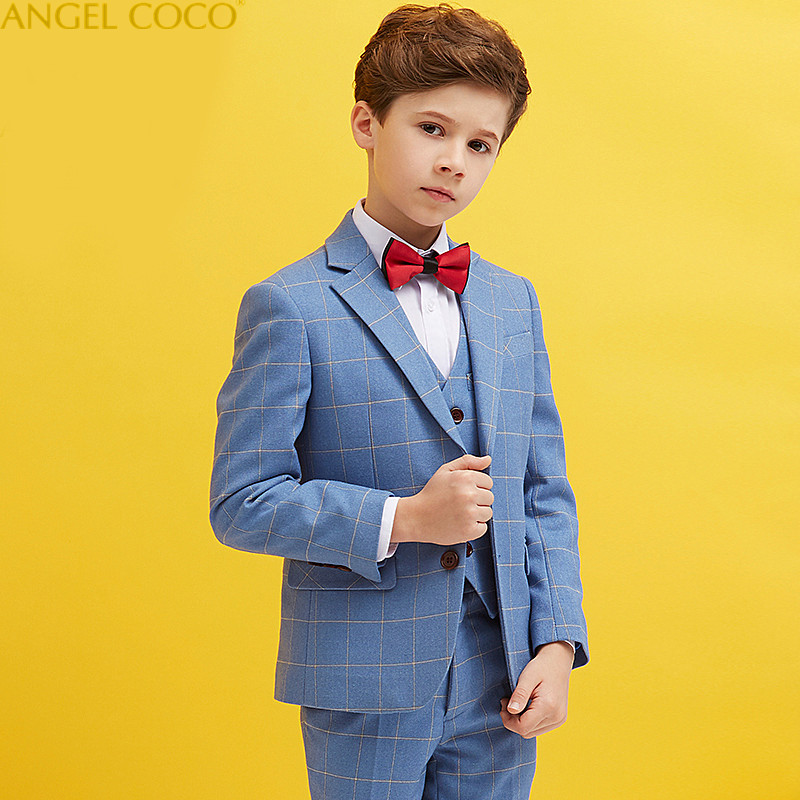 2018 New Children Suit Boys Suits Kids Blazer Boys Formal Suit For Wedding Boys Clothes Jackets Blazer+Vest+Pants Costume Garcon blazer conquista blazer