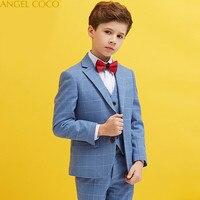 2018 New Children Suit Boys Suits Kids Blazer Boys Formal Suit For Wedding Boys Clothes Jackets Blazer+Vest+Pants Costume Garcon