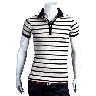 2012 New Men s short Sleeve Polo Shirt slim-fit fashion stripes T shirt  men s top tees M L XL XXL Free shipping CM056 22f191fefe04d