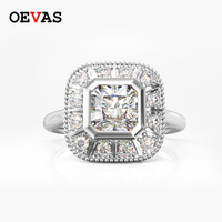 Real S925 Silver High carbon AAAAA CZ Wedding rings for women top quality Square Zircon Sterling silver Party jewelry Bague Anel