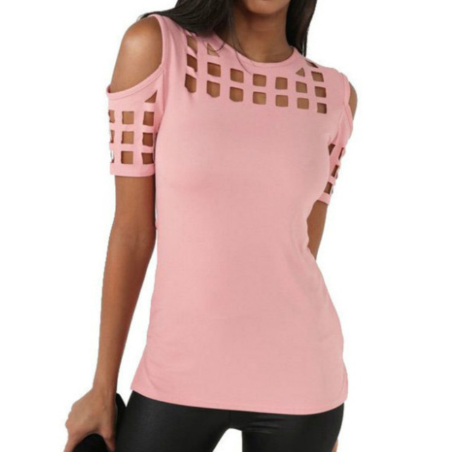 a02be73a94e2 Verão Blusas Sexy Camisas Magro Oco Out Camisas Plus Size Bloco Fora Topos  Ombro Magro Blusa