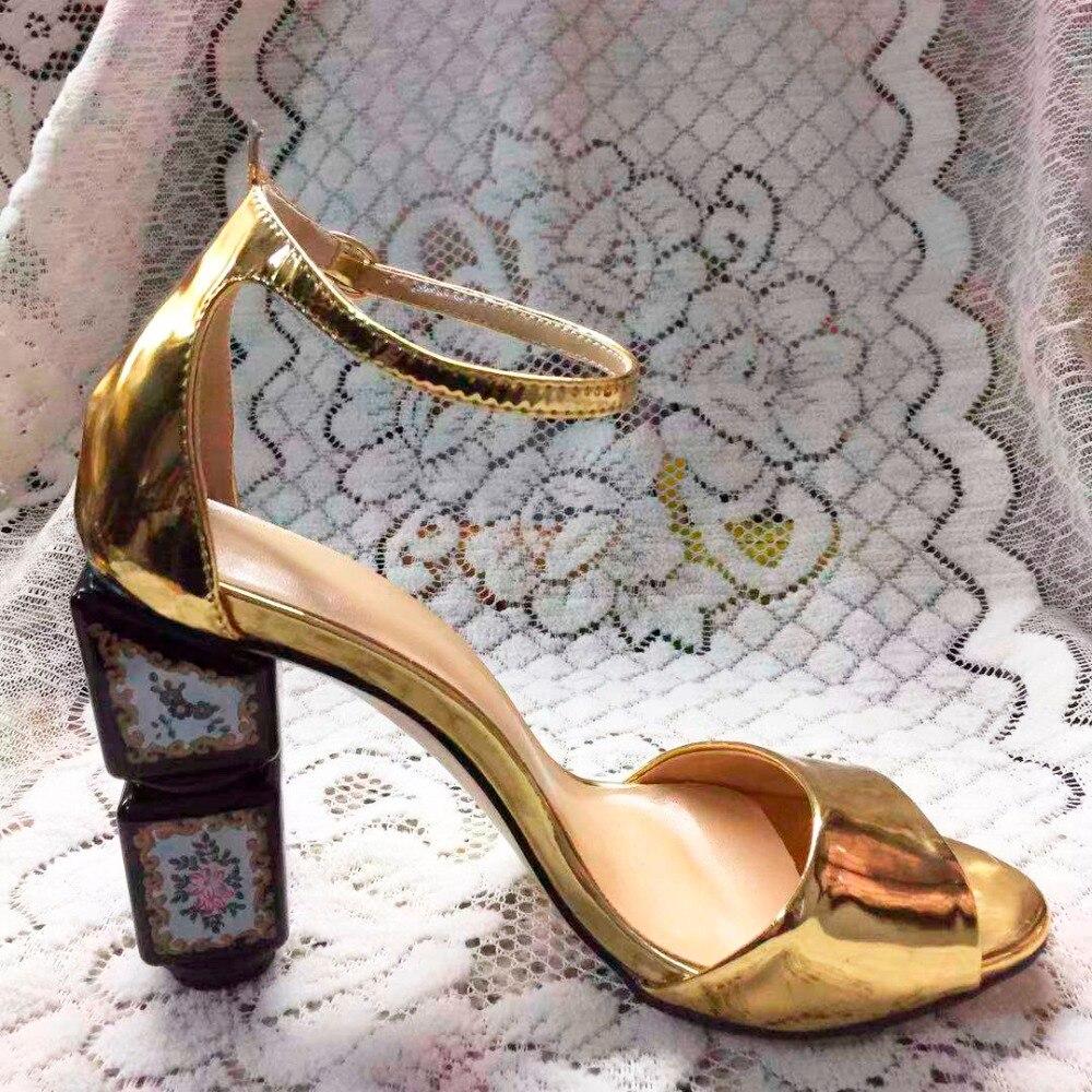 D'été Ouvert Haute Chaussures Femme Sangle Sandales À Or Carré zSGqMUVp