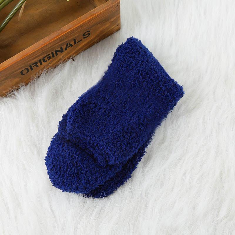 Мужские уютные кашемировые зимние мужские толстые носки зимние теплые пушистые носки-тапочки шерстяные однотонные мужские носки Chaussette Homme Calcetines - Цвет: fleece Navy Blue