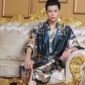 2016 winter sexy black men silk long kimono robe gown solid sleepwear casual nightgown plus