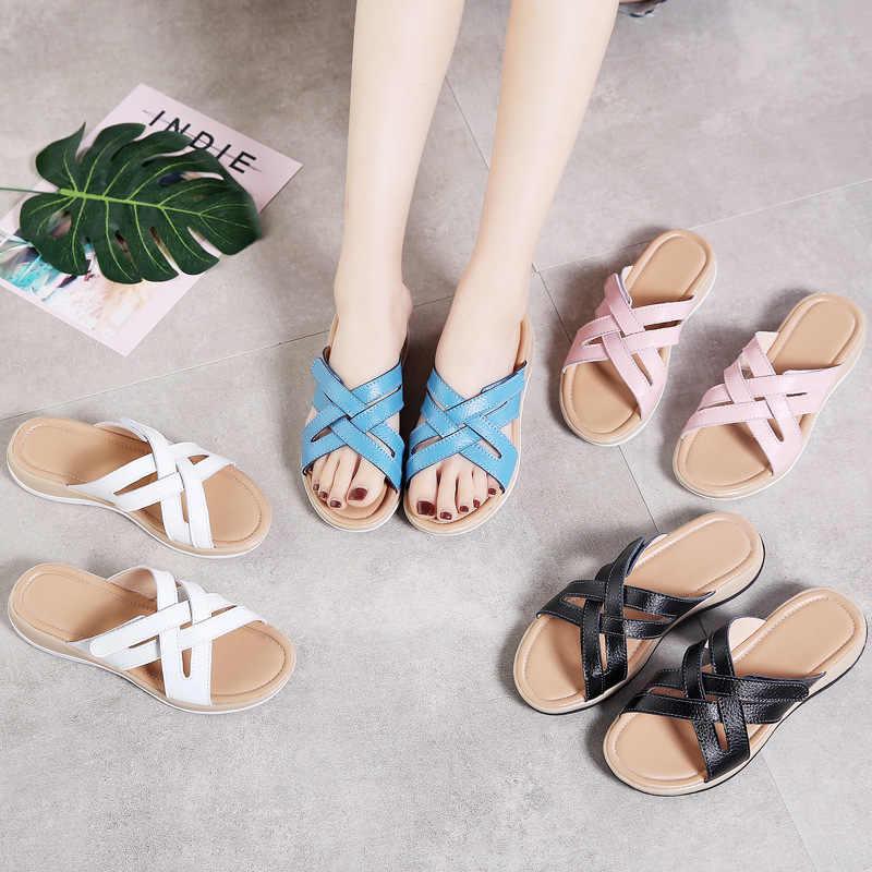 Plardin ฤดูร้อนผู้หญิงรองเท้าแตะในร่มและกลางแจ้งสุภาพสตรีของแท้รองเท้าชายหาดโบฮีเมีย Flip Flops รองเท้าหนัง